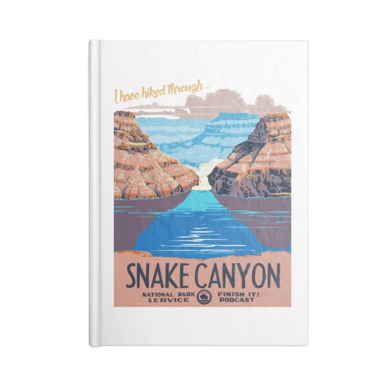 Snake Canyon Hourglass Accessories Blank Journal Notebook by Finish It! Podcast Merchzone