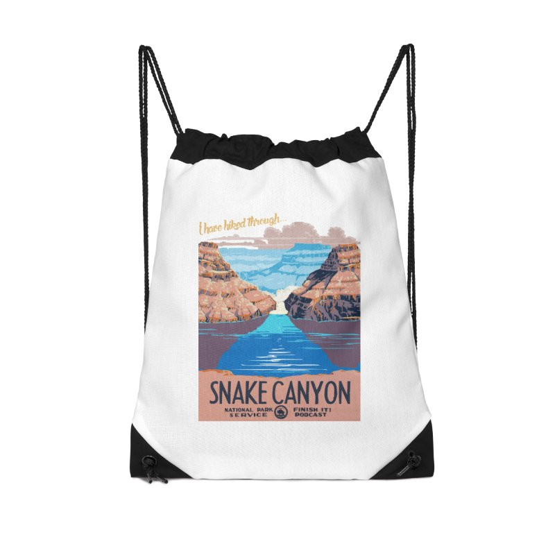 Snake Canyon Hourglass Accessories Drawstring Bag Bag by Finish It! Podcast Merchzone