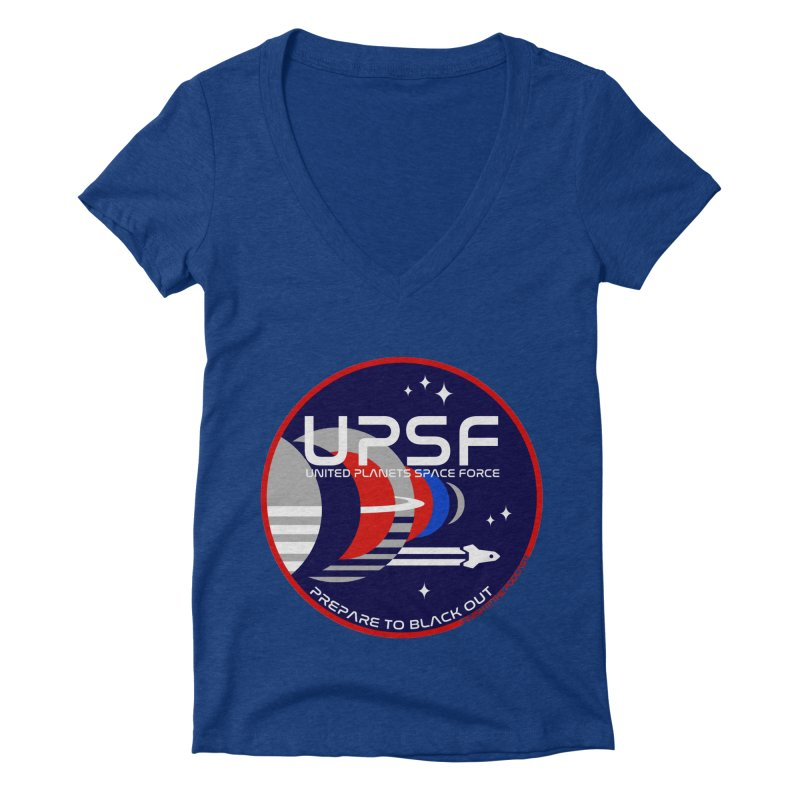 United Planets Space Force Logo Women's Deep V-Neck V-Neck by Finish It! Podcast Merchzone