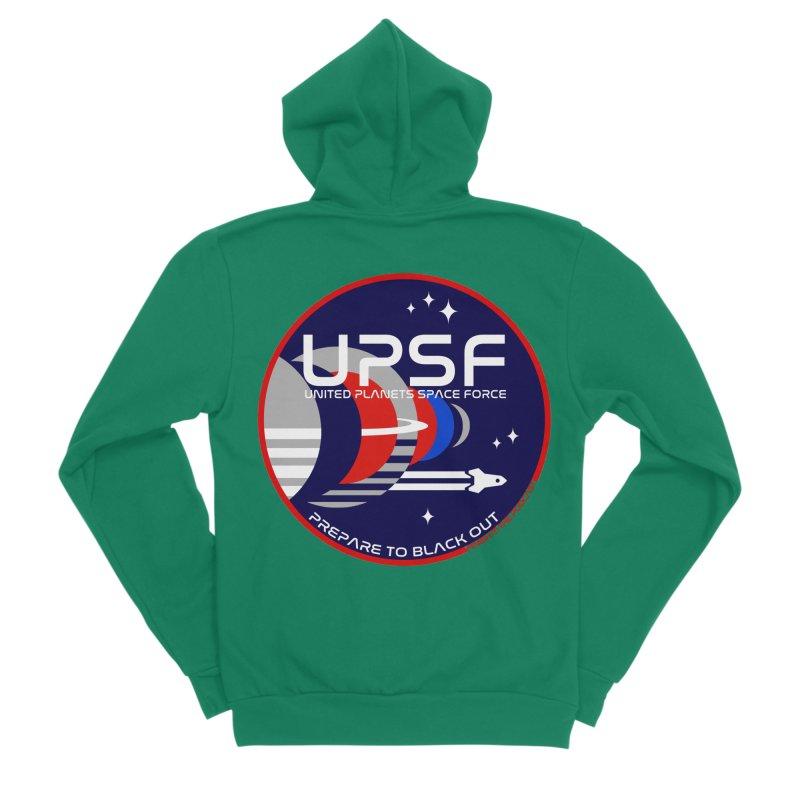 United Planets Space Force Logo Men's Sponge Fleece Zip-Up Hoody by Finish It! Podcast Merchzone