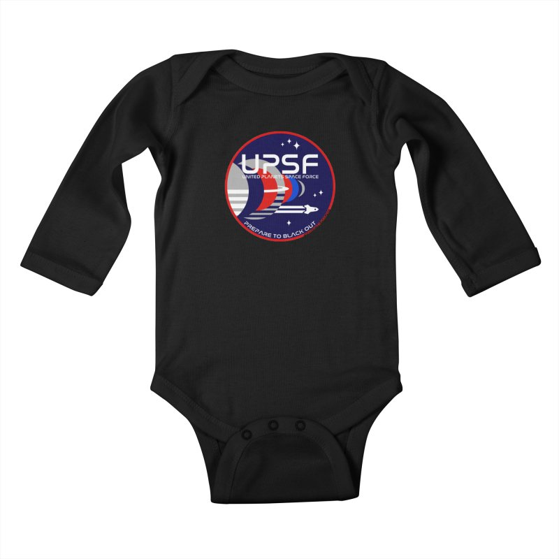 United Planets Space Force Logo Kids Baby Longsleeve Bodysuit by Finish It! Podcast Merchzone