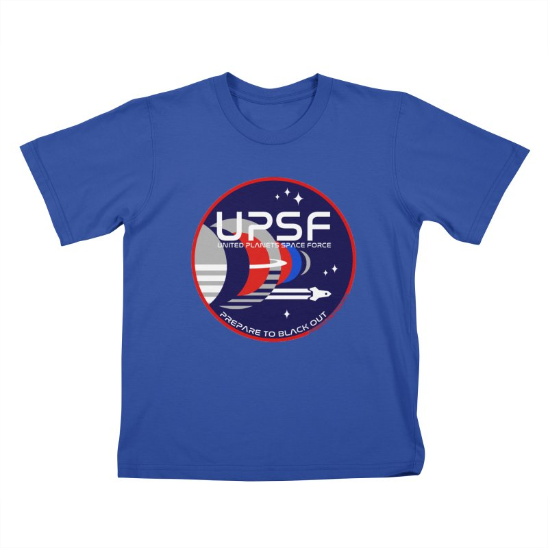 United Planets Space Force Logo in Kids T-Shirt Royal Blue by Finish It! Podcast Merchzone