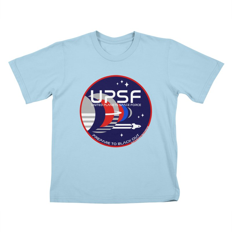 United Planets Space Force Logo Kids T-Shirt by Finish It! Podcast Merchzone