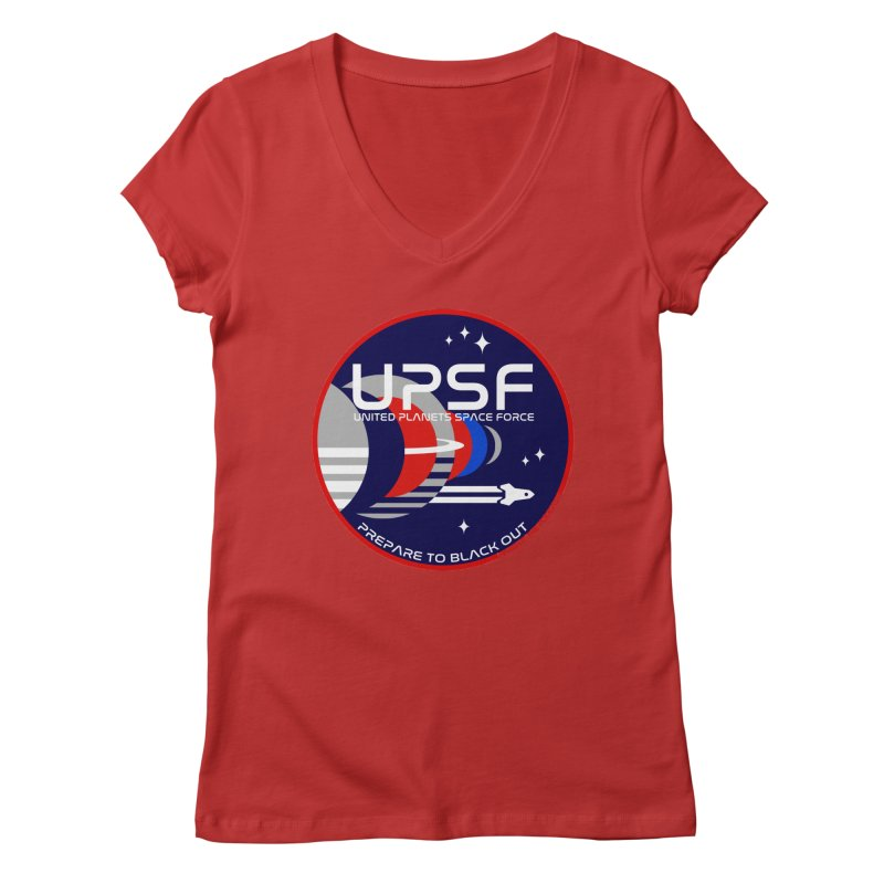 United Planets Space Force Logo Women's Regular V-Neck by Finish It! Podcast Merchzone
