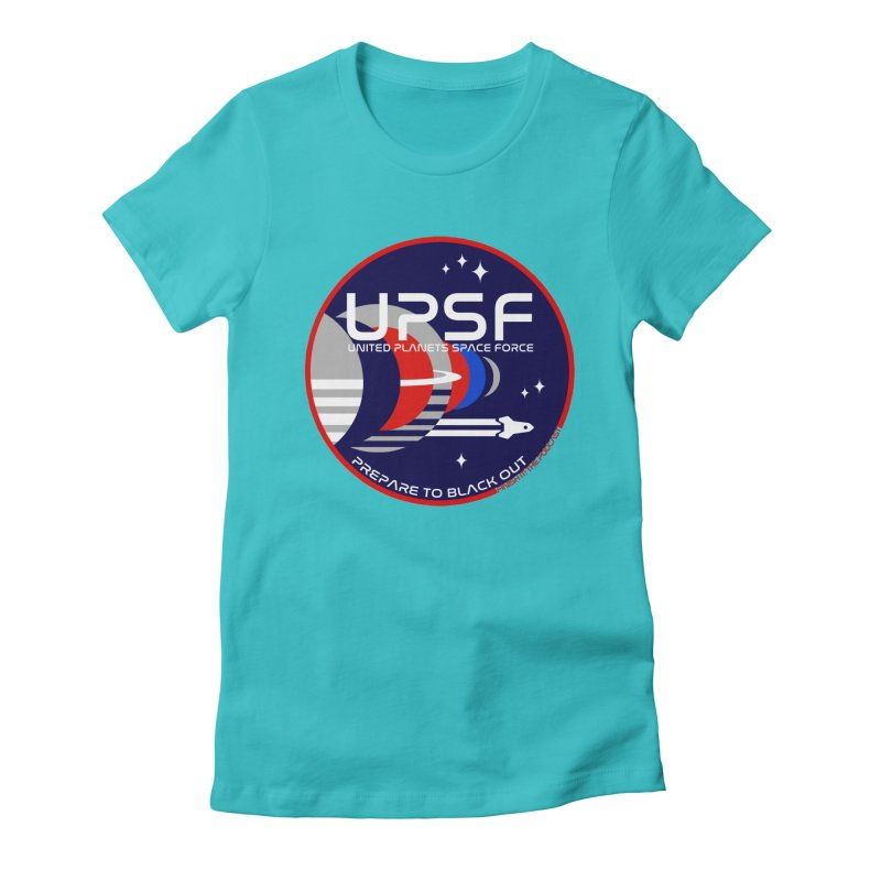 United Planets Space Force Logo Women's Fitted T-Shirt by Finish It! Podcast Merchzone