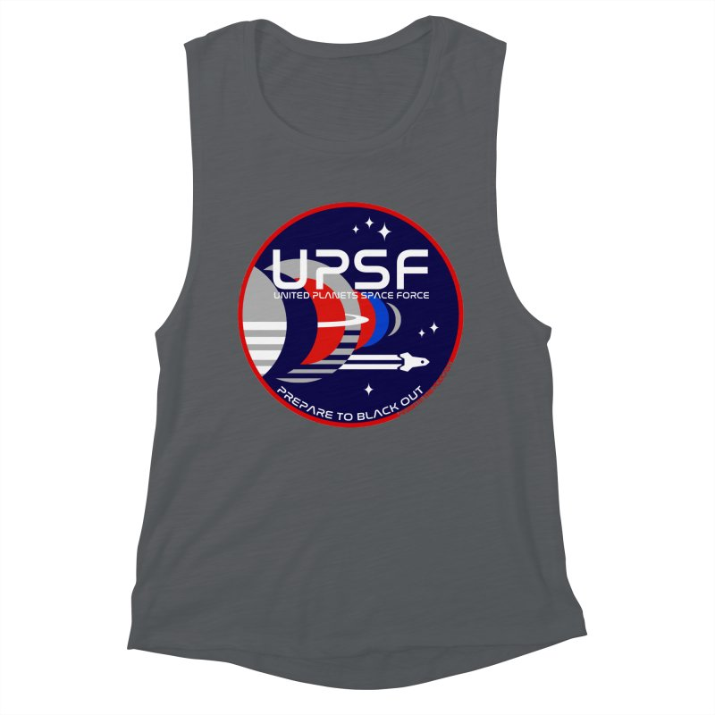 United Planets Space Force Logo Women's Muscle Tank by Finish It! Podcast Merchzone