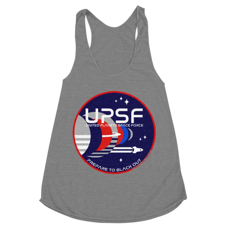 United Planets Space Force Logo Women's Racerback Triblend Tank by Finish It! Podcast Merchzone