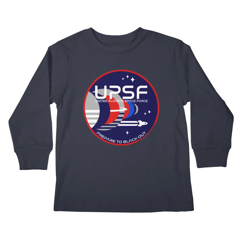 United Planets Space Force Logo Kids Longsleeve T-Shirt by Finish It! Podcast Merchzone