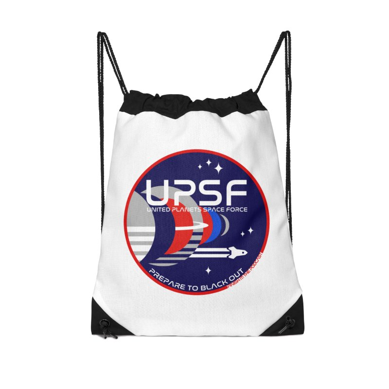 United Planets Space Force Logo Accessories Drawstring Bag Bag by Finish It! Podcast Merchzone