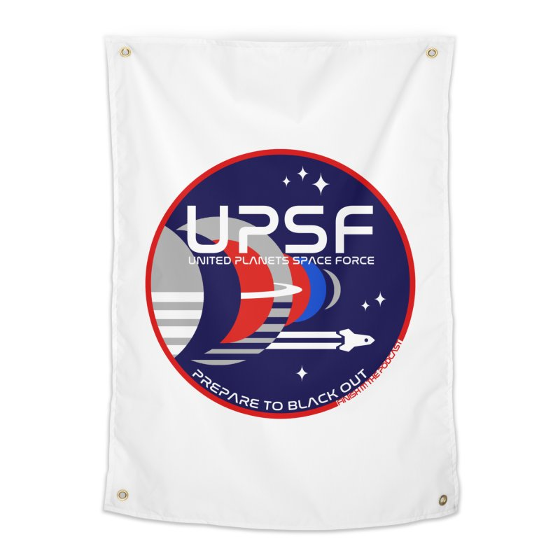 United Planets Space Force Logo Home Tapestry by Finish It! Podcast Merchzone