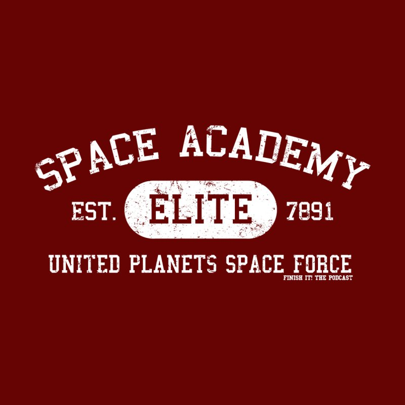 Space Academy Collegiate (White) Men's V-Neck by Finish It! Podcast Merchzone