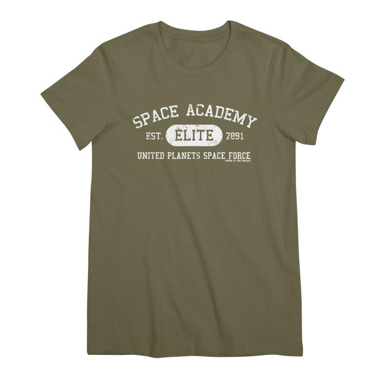 Space Academy Collegiate (White) Women's Premium T-Shirt by Finish It! Podcast Merchzone