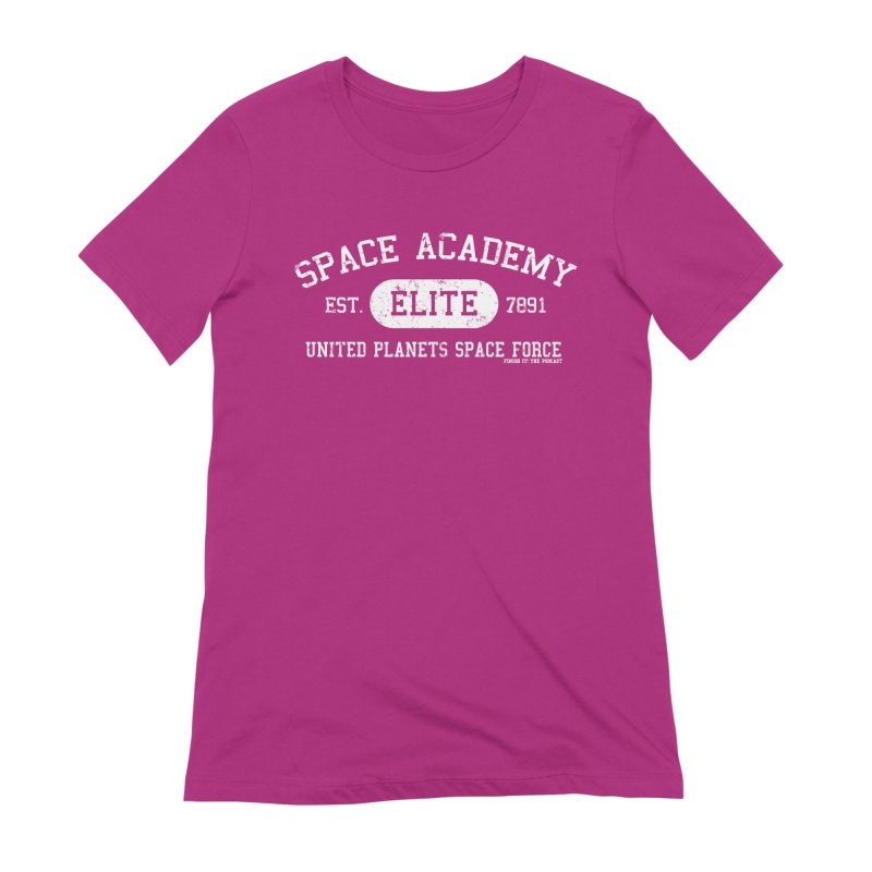Space Academy Collegiate (White) Women's Extra Soft T-Shirt by Finish It! Podcast Merchzone