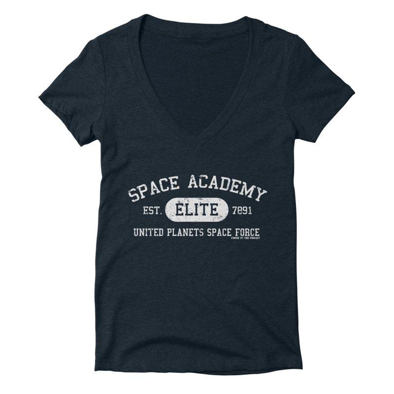 Space Academy Collegiate (White) Women's Deep V-Neck V-Neck by Finish It! Podcast Merchzone