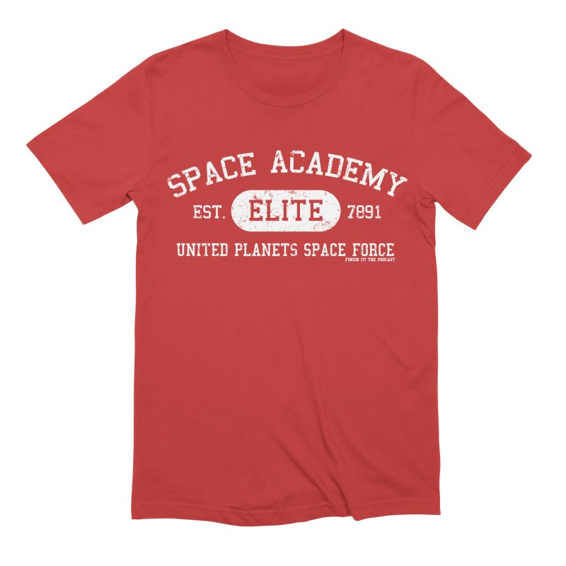 Space Academy Collegiate (White) Men's Extra Soft T-Shirt by Finish It! Podcast Merchzone