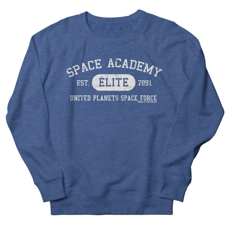 Space Academy Collegiate (White) in Men's French Terry Sweatshirt Heather Royal by Finish It! Podcast Merchzone