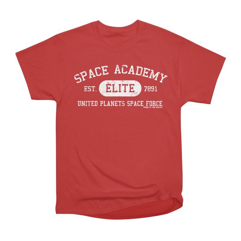 Space Academy Collegiate (White) Women's Heavyweight Unisex T-Shirt by Finish It! Podcast Merchzone