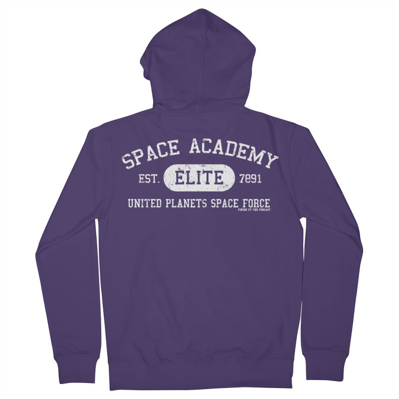 Space Academy Collegiate (White) Women's French Terry Zip-Up Hoody by Finish It! Podcast Merchzone