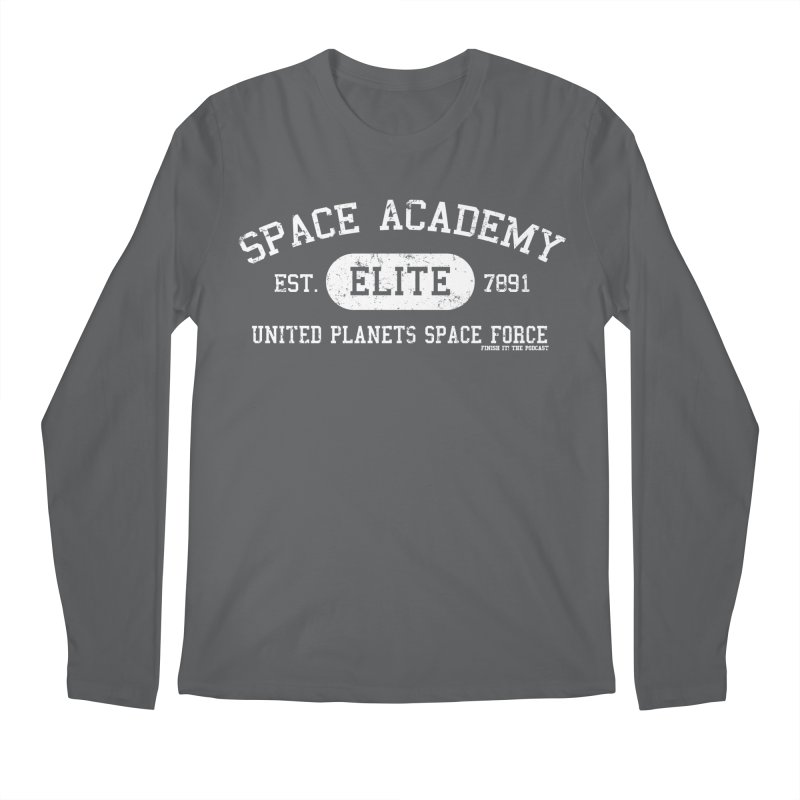 Space Academy Collegiate (White) Men's Longsleeve T-Shirt by Finish It! Podcast Merchzone