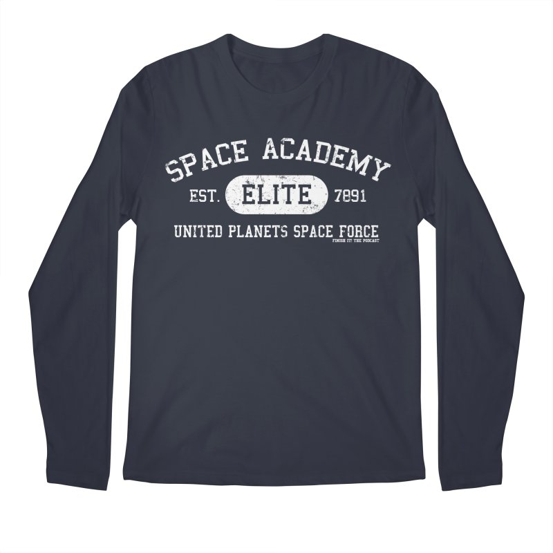 Space Academy Collegiate (White) Men's Regular Longsleeve T-Shirt by Finish It! Podcast Merchzone