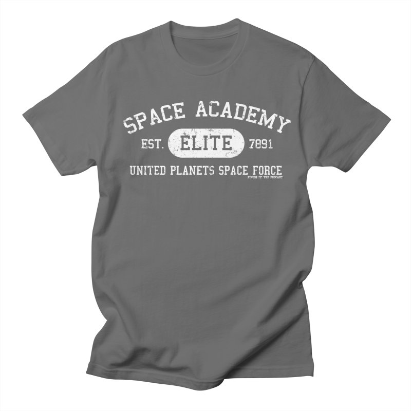 Space Academy Collegiate (White) Men's Regular T-Shirt by Finish It! Podcast Merchzone
