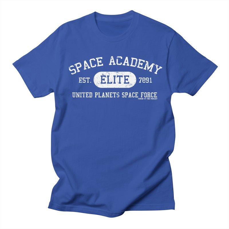 Space Academy Collegiate (White) Women's Regular Unisex T-Shirt by Finish It! Podcast Merchzone