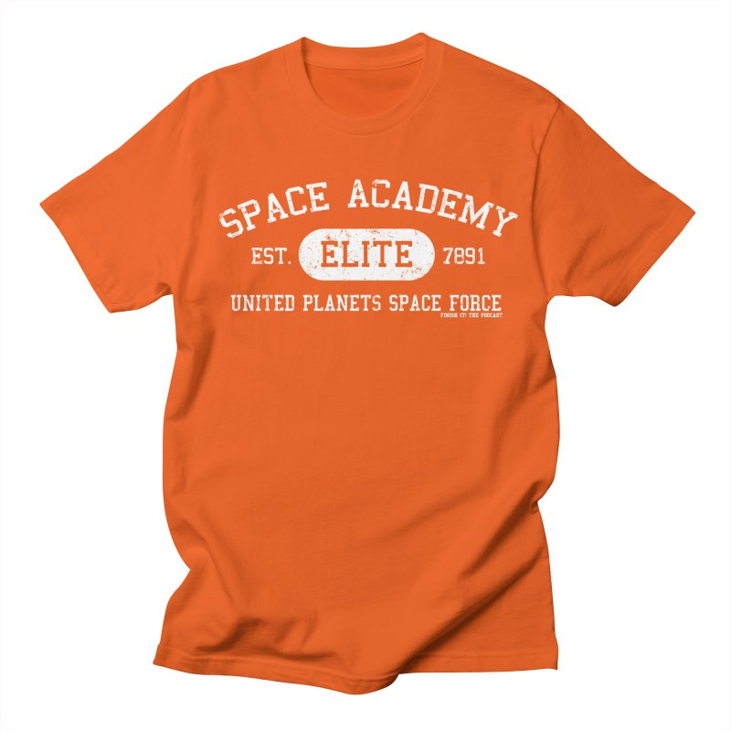 Space Academy Collegiate (White) Women's Regular Unisex T-Shirt by Finish It! Podcast Merchzone
