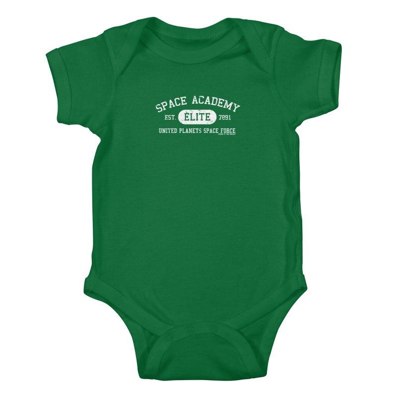 Space Academy Collegiate (White) Kids Baby Bodysuit by Finish It! Podcast Merchzone