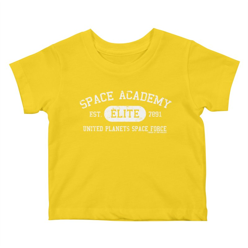 Space Academy Collegiate (White) Kids Baby T-Shirt by Finish It! Podcast Merchzone