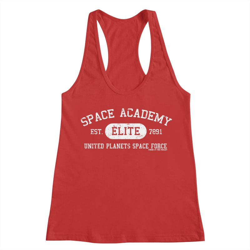 Space Academy Collegiate (White) Women's Racerback Tank by Finish It! Podcast Merchzone