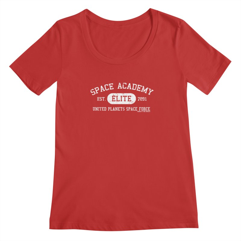 Space Academy Collegiate (White) Women's Regular Scoop Neck by Finish It! Podcast Merchzone