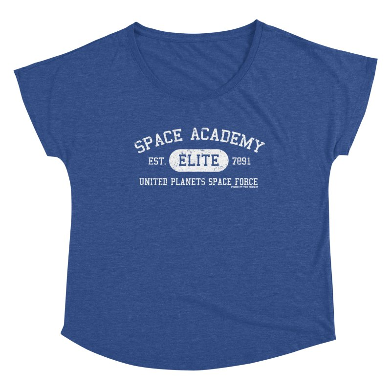 Space Academy Collegiate (White) Women's Dolman Scoop Neck by Finish It! Podcast Merchzone