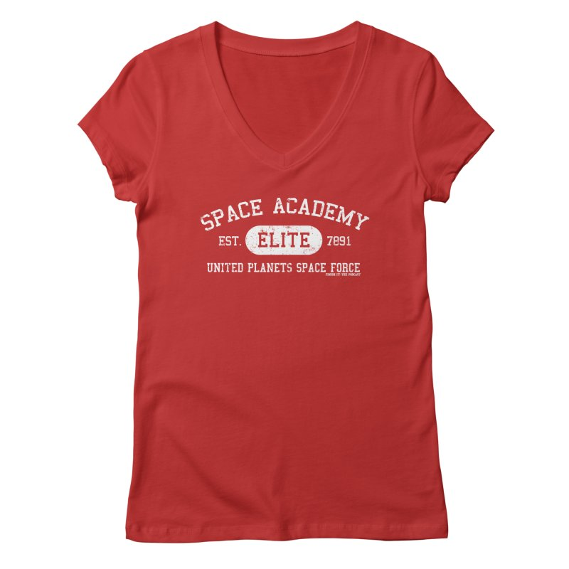 Space Academy Collegiate (White) Women's Regular V-Neck by Finish It! Podcast Merchzone