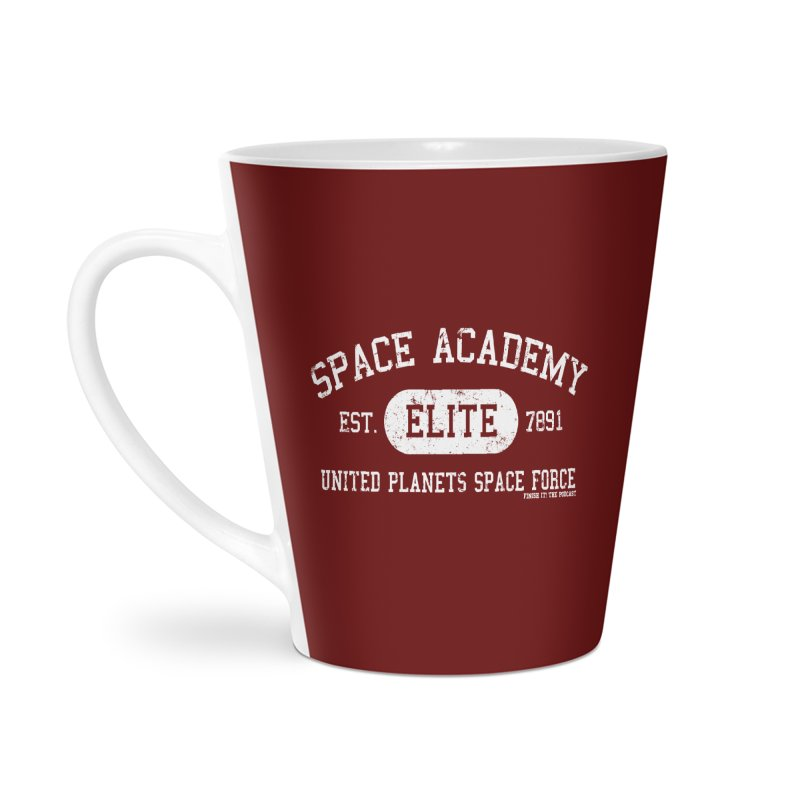 Space Academy Collegiate (White) Accessories Latte Mug by Finish It! Podcast Merchzone