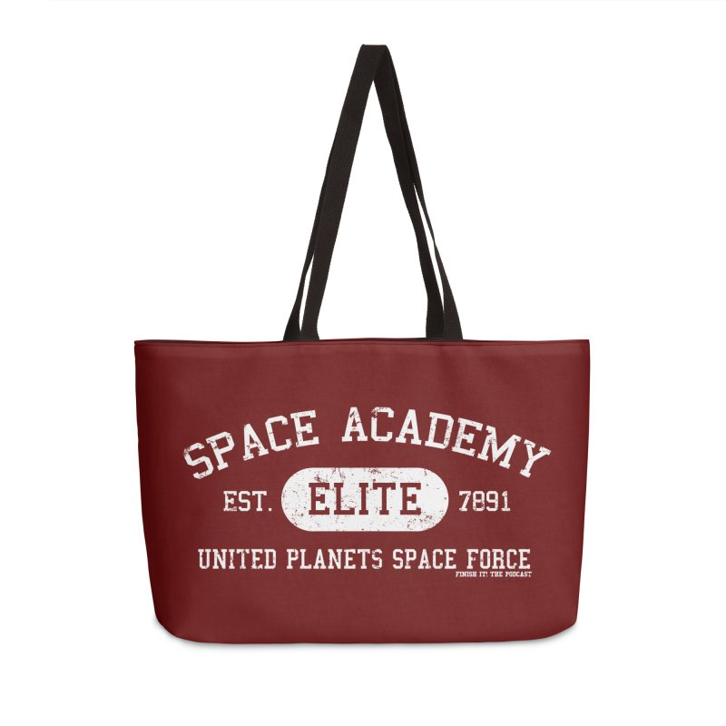 Space Academy Collegiate (White) Accessories Weekender Bag Bag by Finish It! Podcast Merchzone