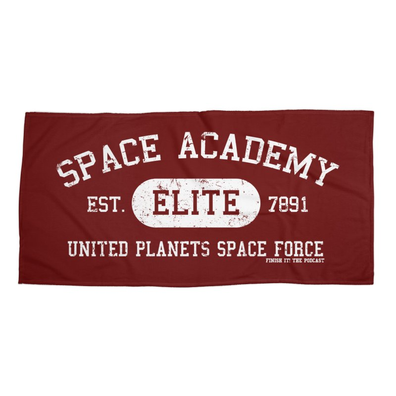 Space Academy Collegiate (White) Accessories Beach Towel by Finish It! Podcast Merchzone