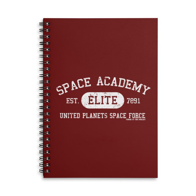 Space Academy Collegiate (White) Accessories Lined Spiral Notebook by Finish It! Podcast Merchzone