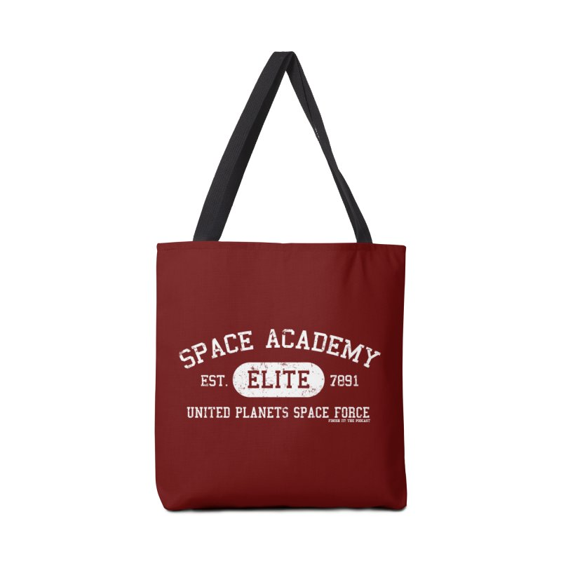 Space Academy Collegiate (White) Accessories Tote Bag Bag by Finish It! Podcast Merchzone