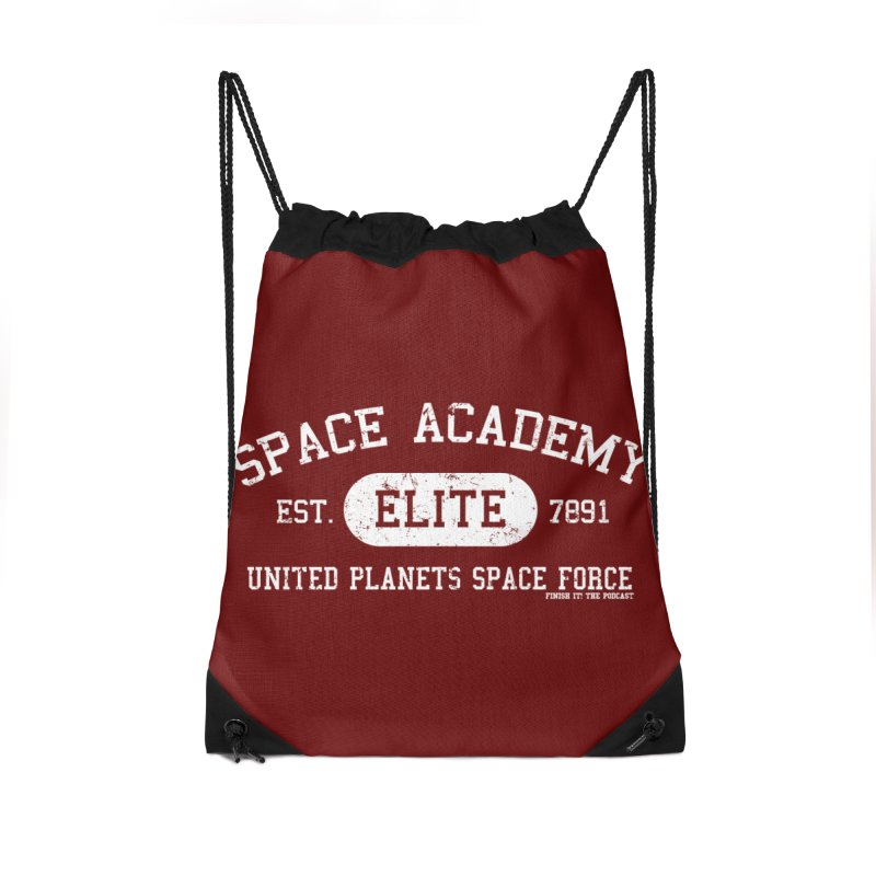 Space Academy Collegiate (White) Accessories Drawstring Bag Bag by Finish It! Podcast Merchzone