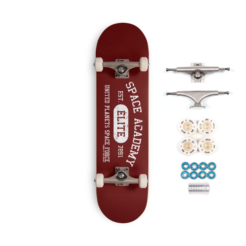 Space Academy Collegiate (White) Accessories Complete - Premium Skateboard by Finish It! Podcast Merchzone