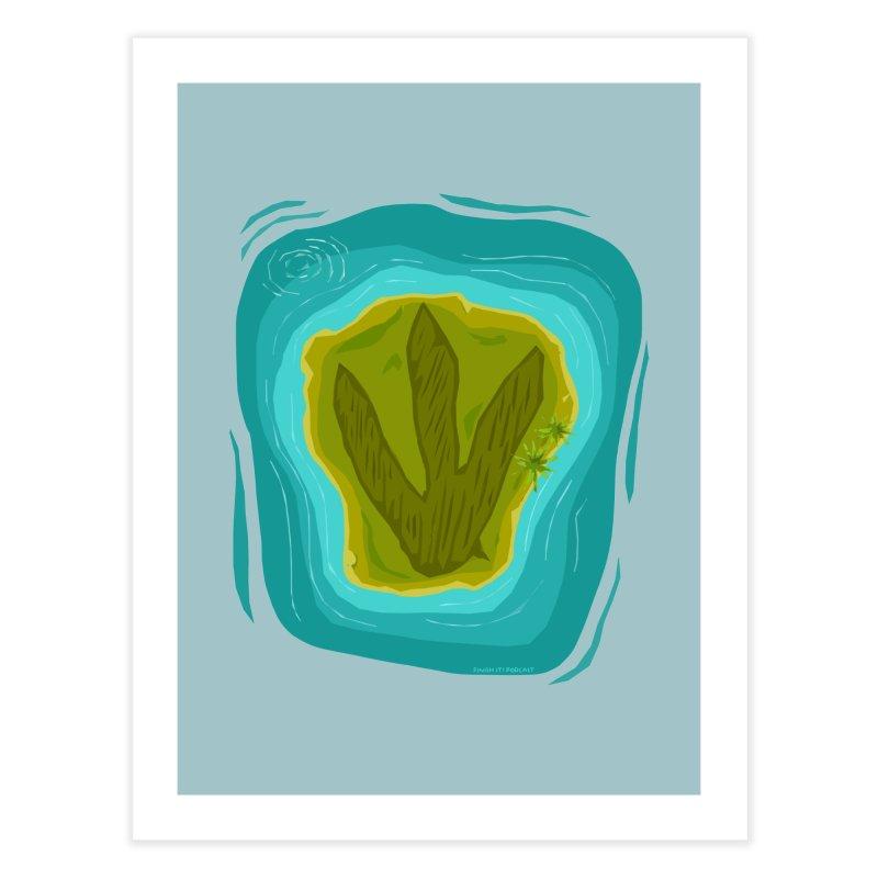 Dino Island Splashdown Home Fine Art Print by Finish It! Podcast Merchzone