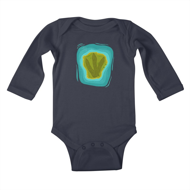 Dino Island Splashdown Kids Baby Longsleeve Bodysuit by Finish It! Podcast Merchzone