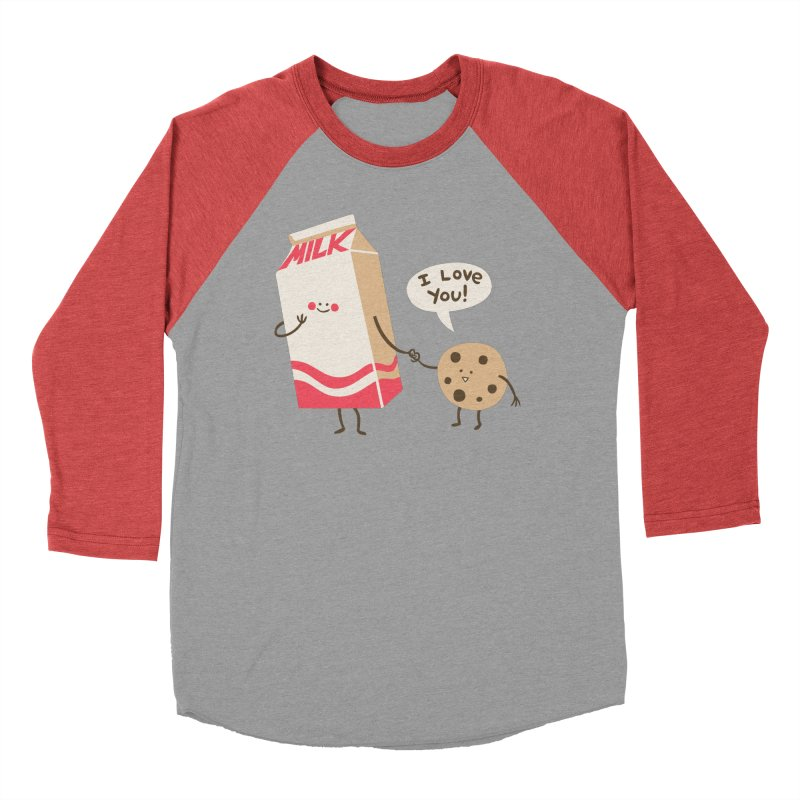 Cookie Loves Milk in Women's Baseball Triblend Longsleeve T-Shirt Chili Red Sleeves by finkenstein's Artist Shop