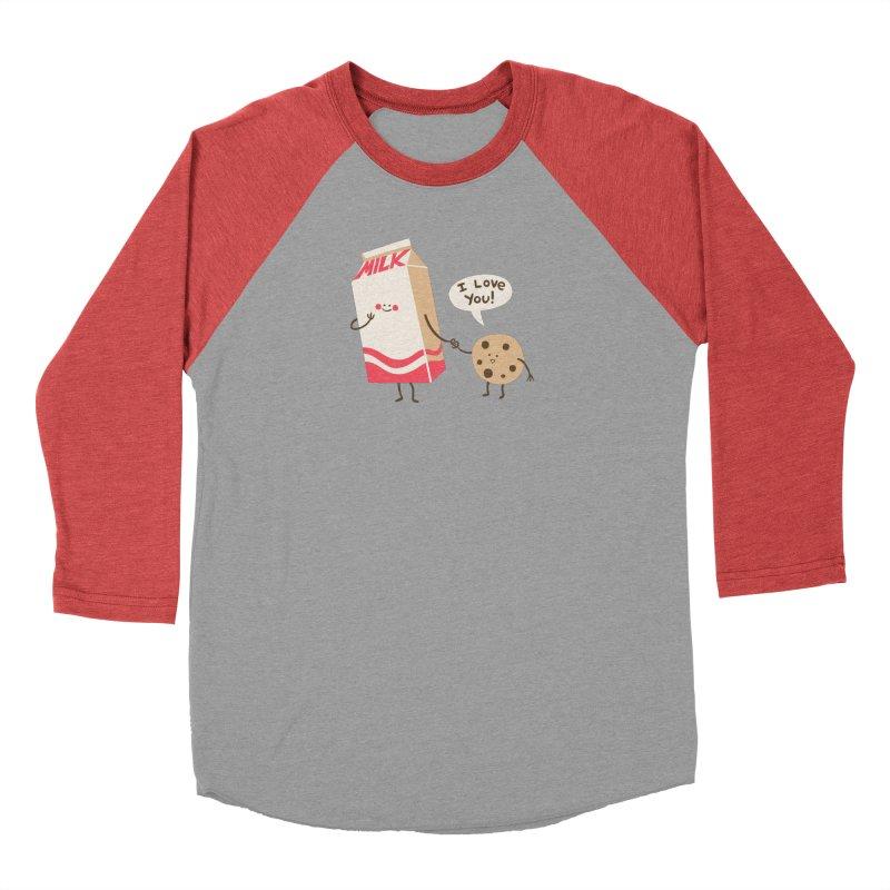 Cookie Loves Milk in Women's Baseball Triblend Longsleeve T-Shirt Chili Red Sleeves by finkenstein's Artist Shop
