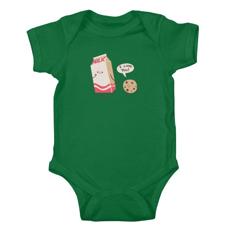 Cookie Loves Milk Kids Baby Bodysuit by finkenstein's Artist Shop