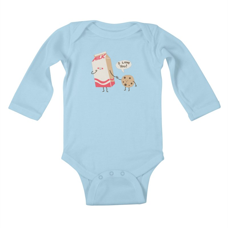 Cookie Loves Milk Kids Baby Longsleeve Bodysuit by finkenstein's Artist Shop