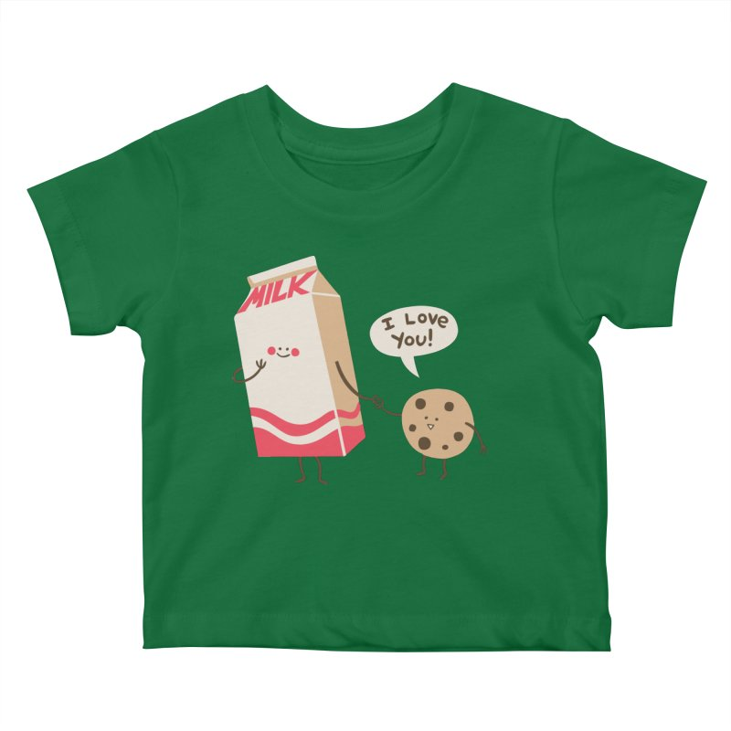 Cookie Loves Milk Kids Baby T-Shirt by finkenstein's Artist Shop