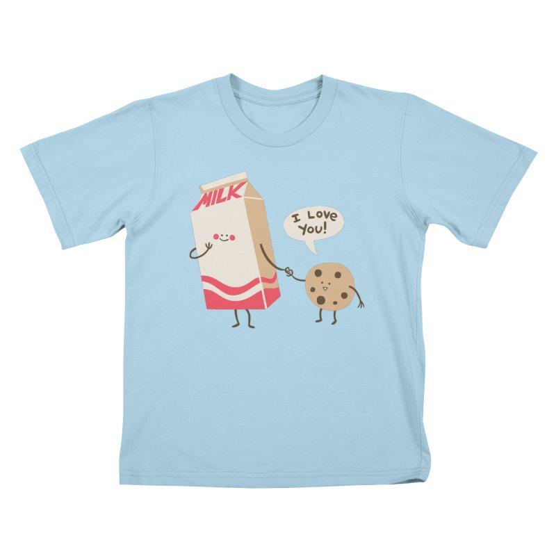 Cookie Loves Milk Kids T-Shirt by finkenstein's Artist Shop