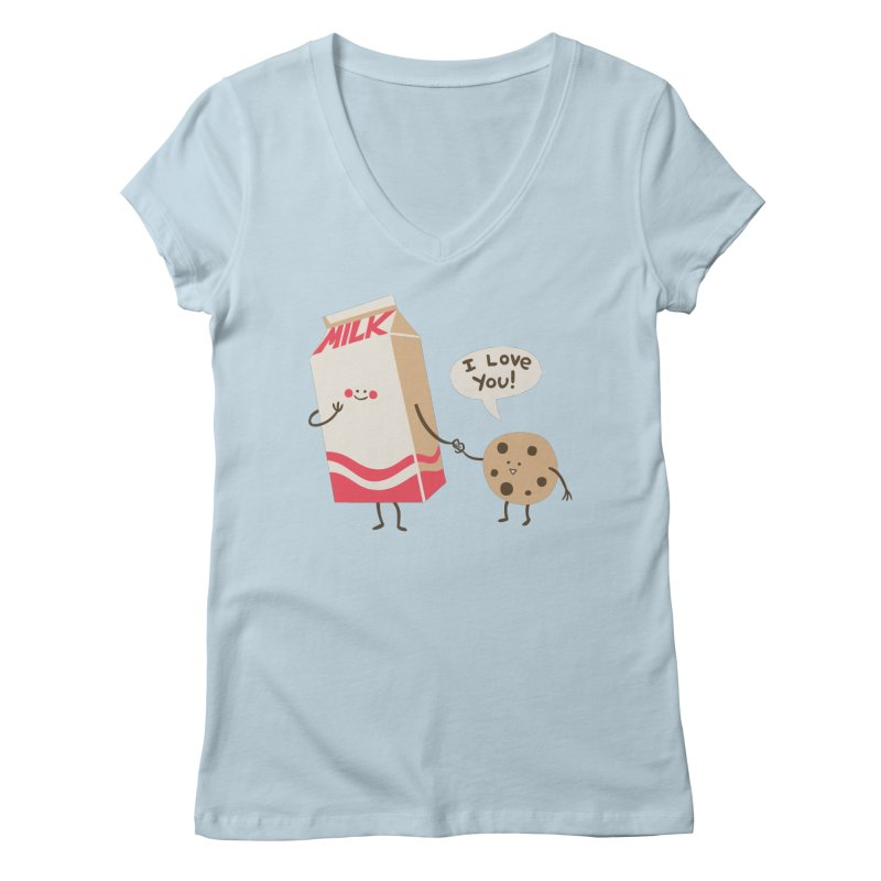 Cookie Loves Milk Women's Regular V-Neck by finkenstein's Artist Shop