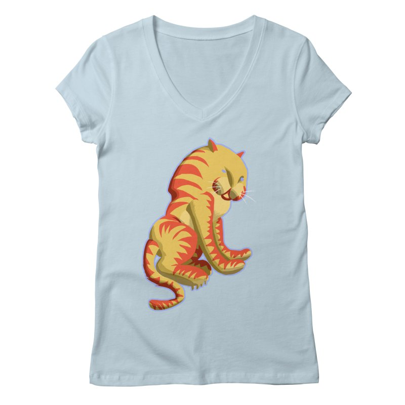 Groovy Tiger Women's V-Neck by fireawaymarmotproductions's Artist Shop